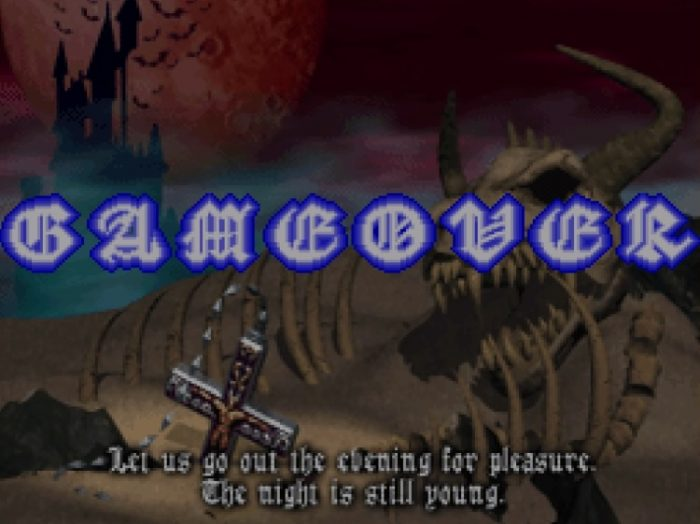 The GAME OVER screen shows a crucifix buried in the sand near a skele-dragon corpse. The text below reads: Let us go out the evening for pleasure. The night is still young.