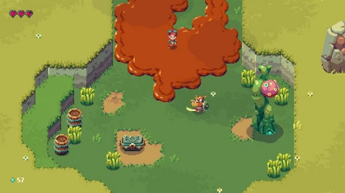 Sparklite uses pixel art animation and a top down perspective. Here, Ada travels through mud to battle gremlins to recover an item in a chest.