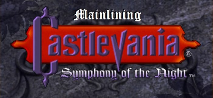 "Castlevania: Symphony of the Night start screen with ""Mainlining"" added in above the title"