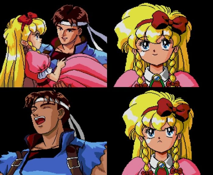 Four Images from a scene. 1: Richter catches a young girl in a dress 2) Maria, blonde 12 year old girl in a pink dress and blond hair smiles. 3) Richter laughs. 4) Maria scowls