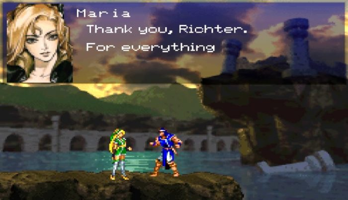"""Maria and Richter stand on a ledge, the ruins of Castlevania behind them, Maria says, """"Thank you, Richter. For everything."""""""