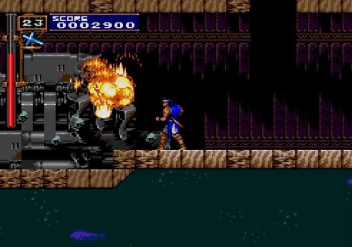 Richter finds a hidden path under the ship, and destroys the machinery to earn a rare 1 Up.