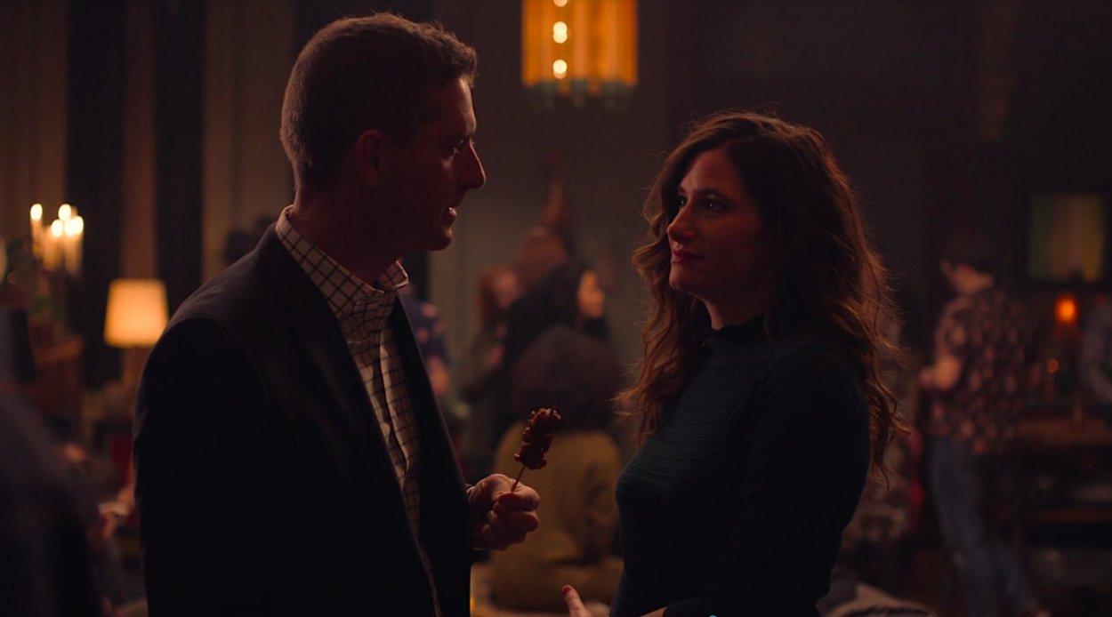 Eve flirts with a random guy at a Brooklyn house party