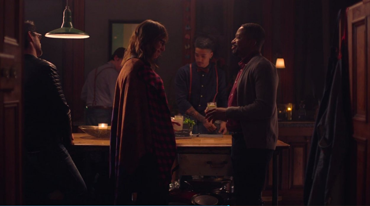 Curtis and Margo get drinks at the bar at the Brooklyn house party