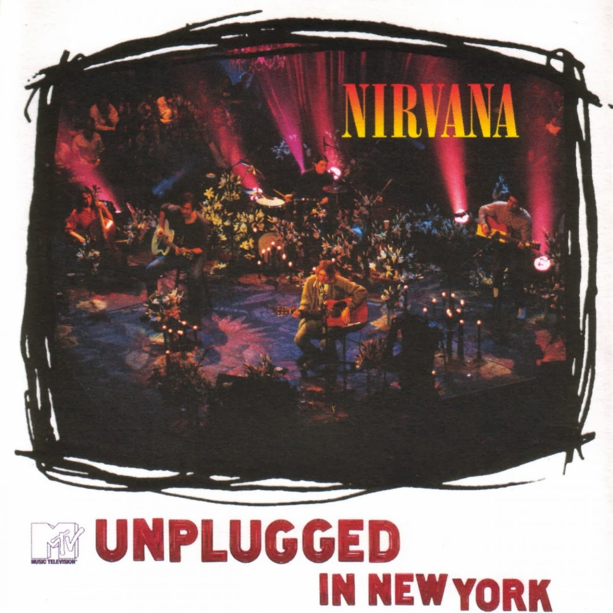 A white background gives way to a loose rectangle where we see Nirvana on stage with a number of players behind them in a small performance space.