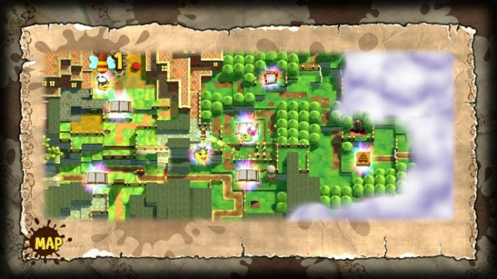 The overworld map is detailed, yet simple, emphasizing where chapters, characters, and points of interest are located.