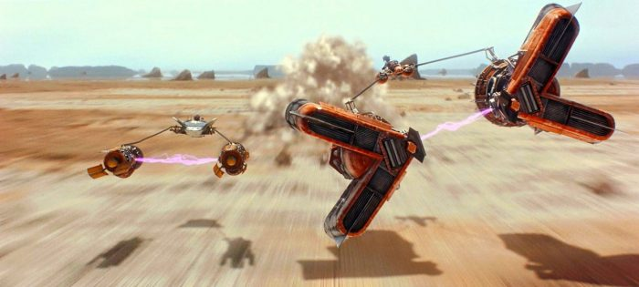 Anakin Skywalker's podracer races against Sebulba's speedster in a race to the finish line