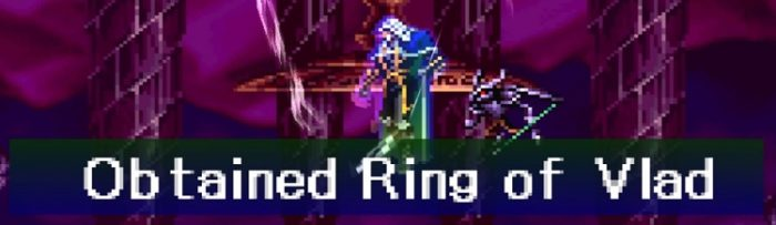Alucard defeats the Phantom Bat from the original Castlevania, to obtain the Ring of Vlad.