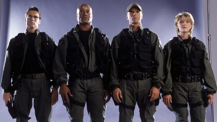 Daniel, Teal'c, Jack, and Sam, members of SG-1