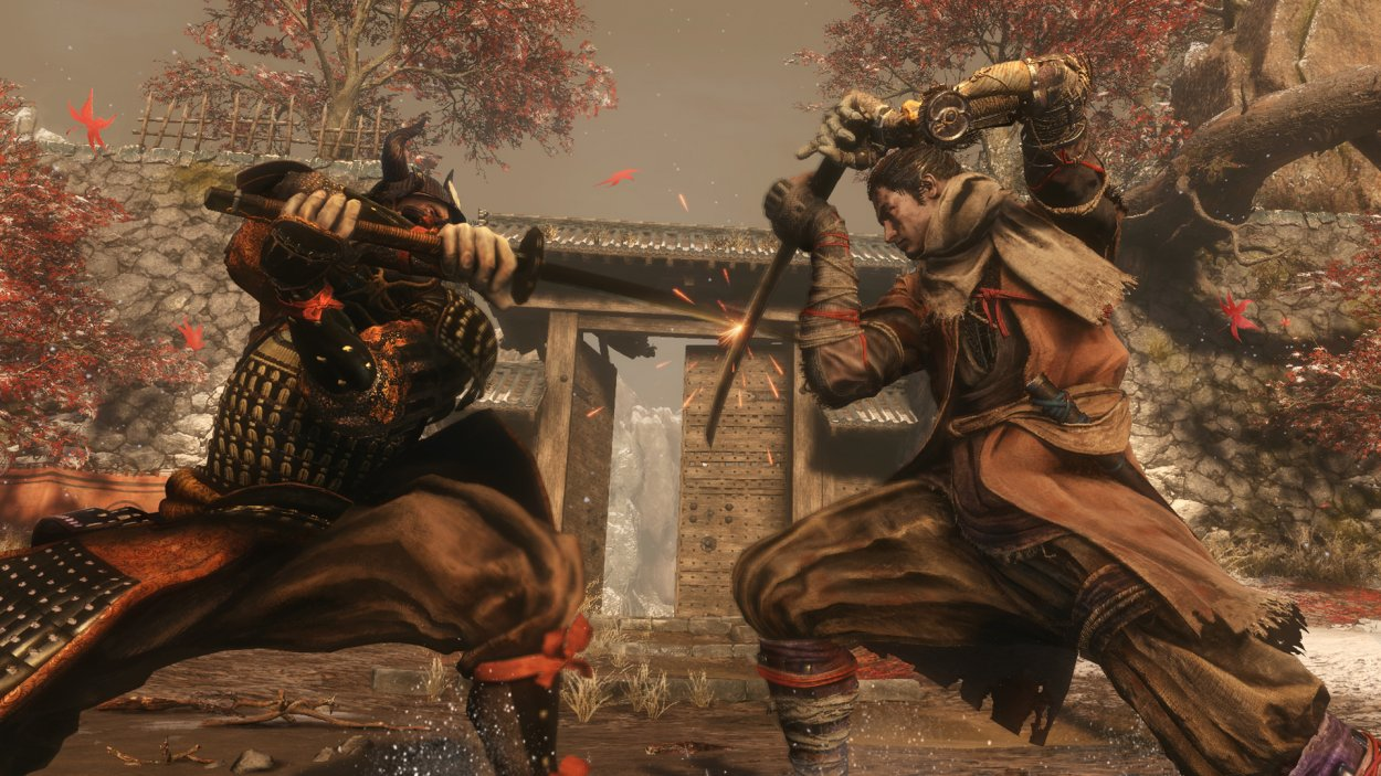 Sekiro blocks an incoming attack from an armored warrior with his katana
