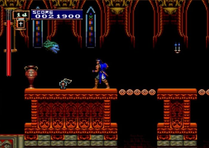 Richter faced a flying Medusa head, while a cross lays on the ground.