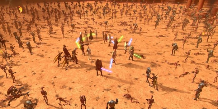 Obi-Wan, Anakin, Padme and Mace Windu find themselves surrounded by an army of droids on planet Geonosis
