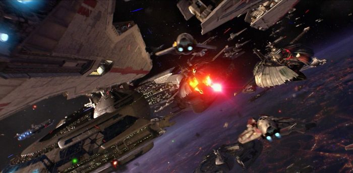 Anakin and Obi-Wan engage in a daring space battle to rescue Senator Palpatine in Star Wars Episode III Revenge of the Sith