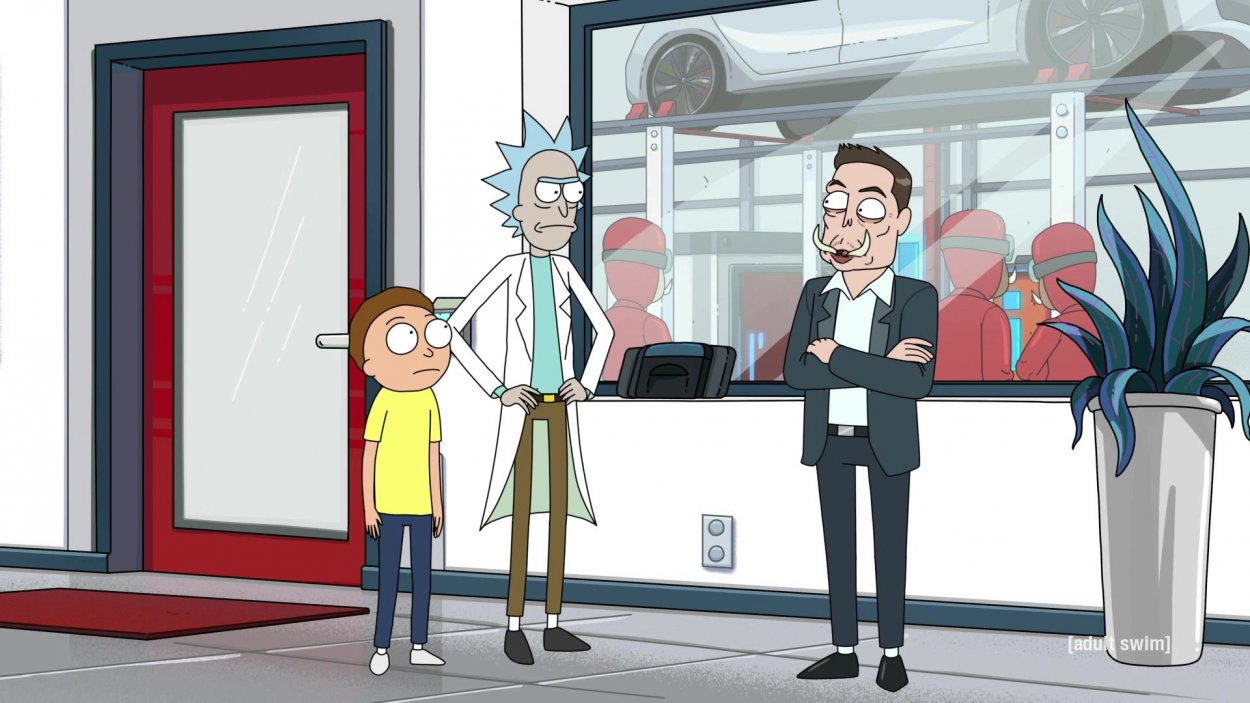 Elom Musk as Elon Tusk in Rick and Morty