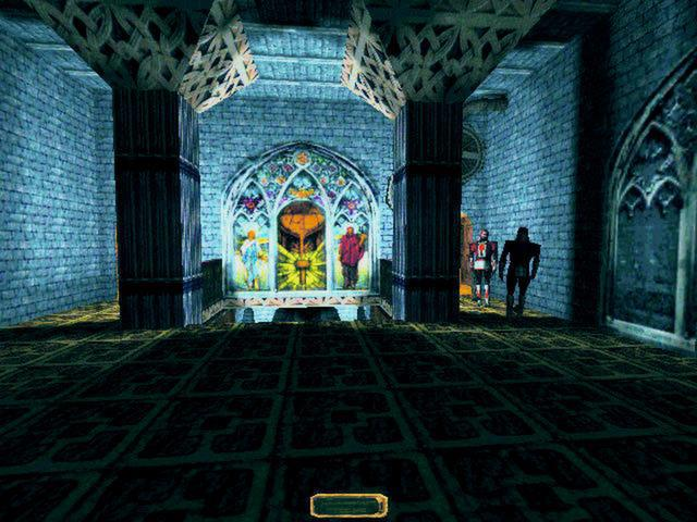 Garret stands in a temple in shadows, while two guards dressed in red patrol in the corner