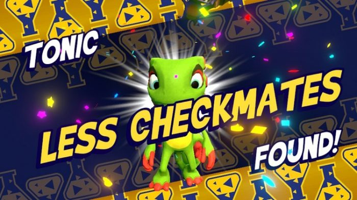 Splash screen for when you find a tonic shows Yooka celebrating. Here he finds the Less Checkmates tonic.