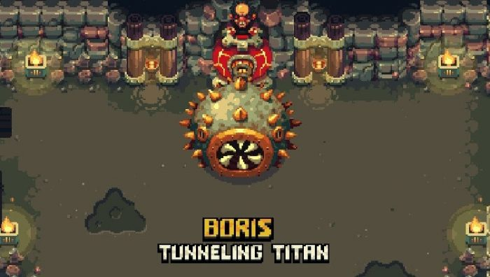 Boris, the Tunneling Titan, is the first boss you'll encounter. He is a balding man inside a round machine with a large spiked ball with spinning teeth attached to the front.