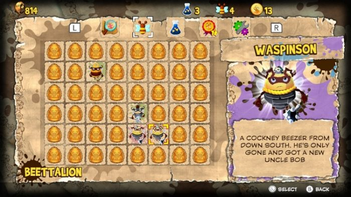 Menu screen showing the bees you've collected along with a short bio, this one is for Waspington, a cockney bee