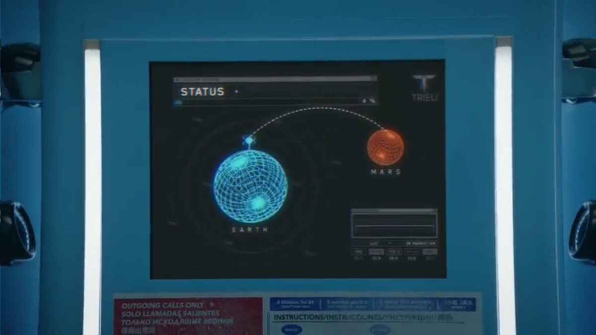 Watchmen - Blue Booth Network control panel, showing a diagram of Earth transmitting to Mars