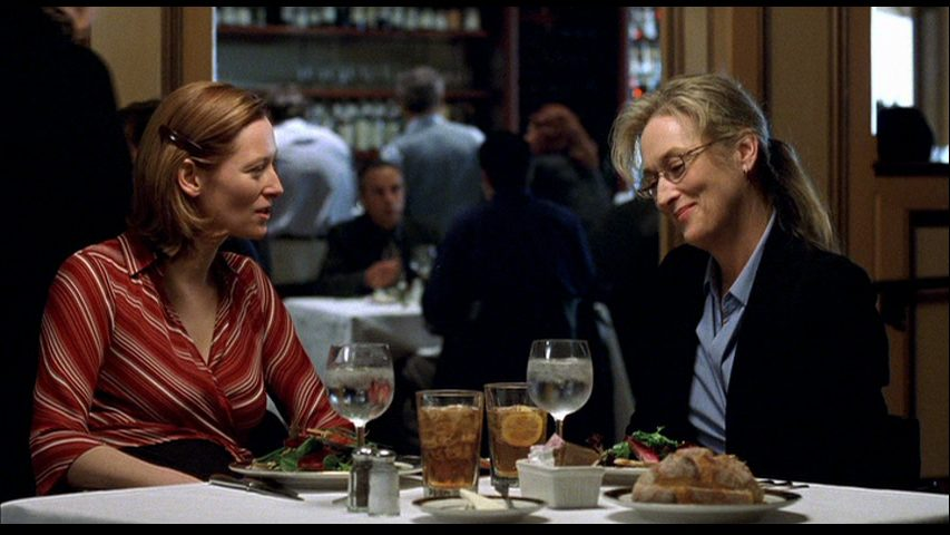 Valerie and Susan Orlean talk about her book to film adaptation over dinner in a restaurant