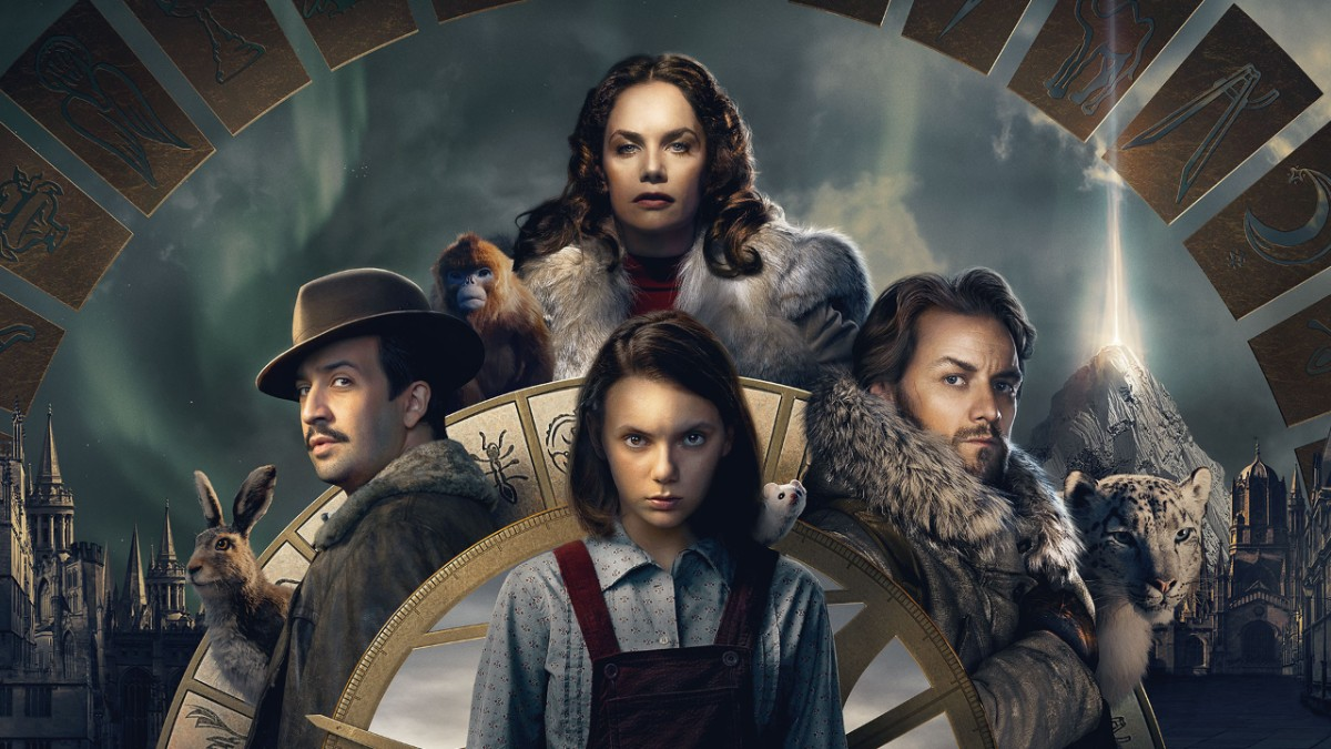 Promo shot of Lyra, surrounded by Lord Asriel, Mrs Coulter, and Lee Scorseby. Their daemons are with them - a white ferret, a snow leopard, a small ape, and a hare.