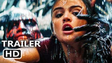 Fantasy Island Trailer image with Lucy Hale in water being grabbed by a creature