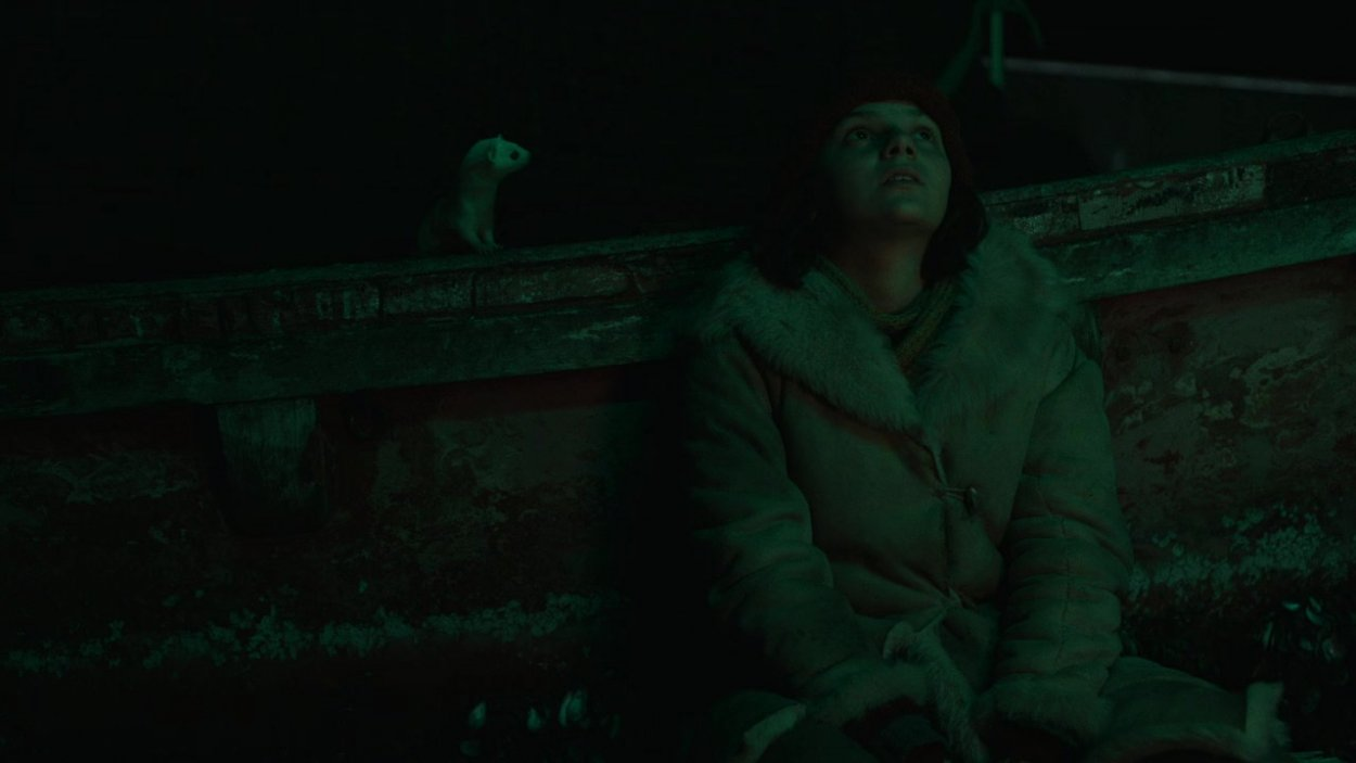 At night, Lyra and Pan sit on the deck of a boat and look up at the sky.