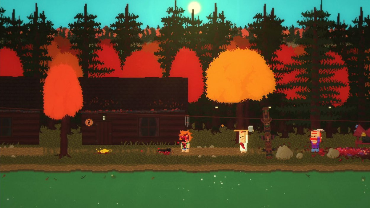 A bloody character is pursued by two of the game's killers on an island.