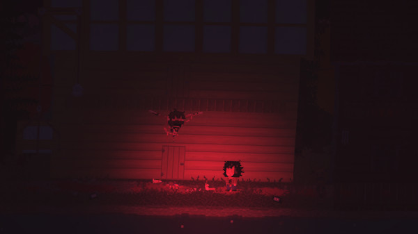 One of the player characters sees another character's head mounted above the doorway of a cabin in low red light