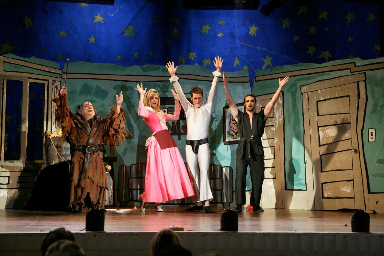 From left to right, Frank as the troll, Dee as The Princess, Dennis as Dayman, and Mac as Nightman on stage