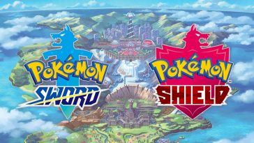 the titles of the to upcoming pokrmon games, placed in front of a shot of the galar region