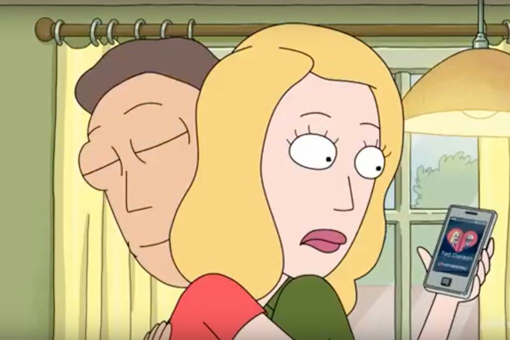 Beth looks at the dating app on her phone behind Jerry's back