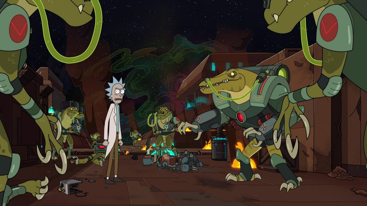 Rick talks to the aliens about the dating app