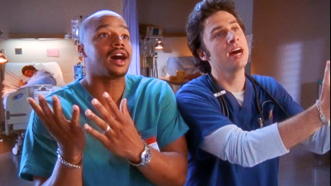 "Turk and J.D. singing their song ""guy love"""
