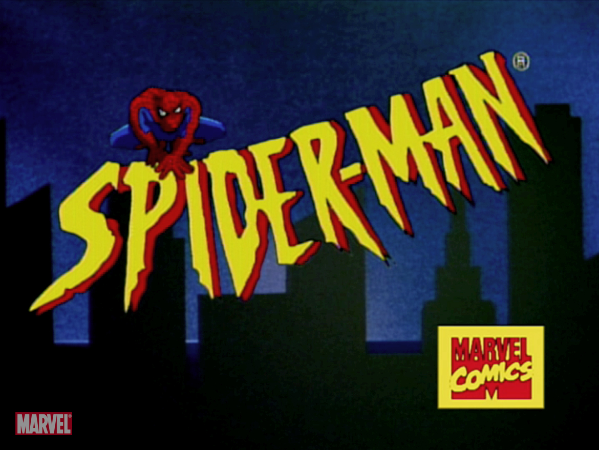 The Spider-Man cartoon logo is in yellow, and large. Spiderman sits crouched on the P and I. A City skyline is behind him, and the Marvel Comics logo is near the bottom right.