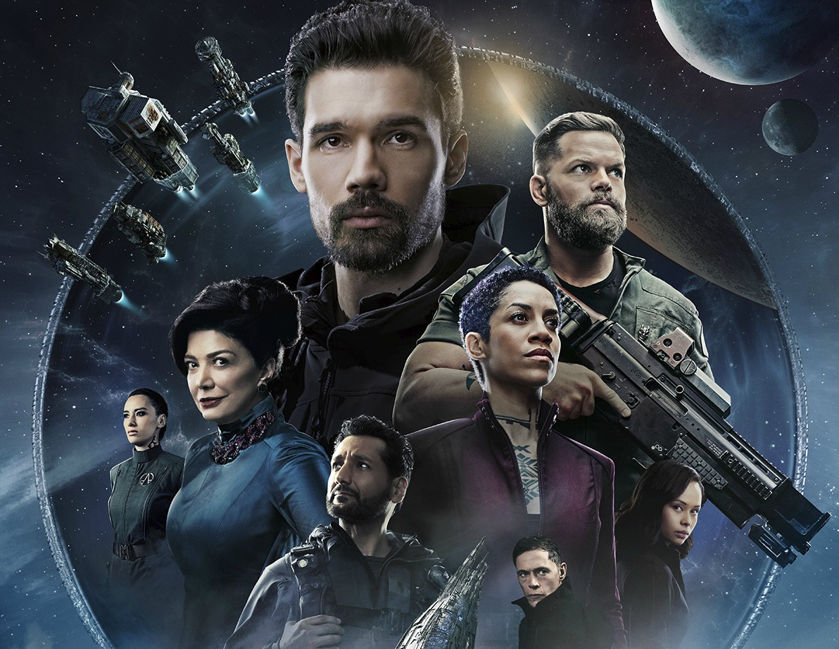 Characters from The Expanse are featured in a circle in a promo image