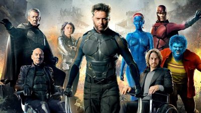 Wolverine, surrounded by both ages of Magneto and Professor X, Quicksilver, Beast, and Mystique