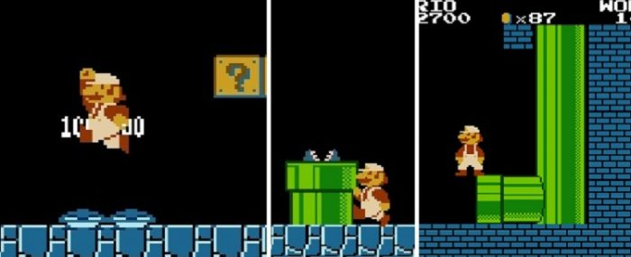 """A three panel shot of things Mario does in Stage 1-2: (From left to right) Mario stomps on two Goomba's at once; Mario """"skates"""" after exiting a pipe; Mario attempts to glitch his way to the Minus World by jumping backwards into a protruding brick at the end of the underground section of 1-2"""