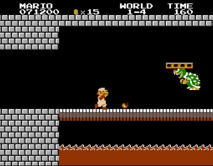 Shown: Level 1-4. Mario confronts Bowser in the stone castle. They are both on a bridge with lava below it. Mario is shooting fireballs at Bowser.