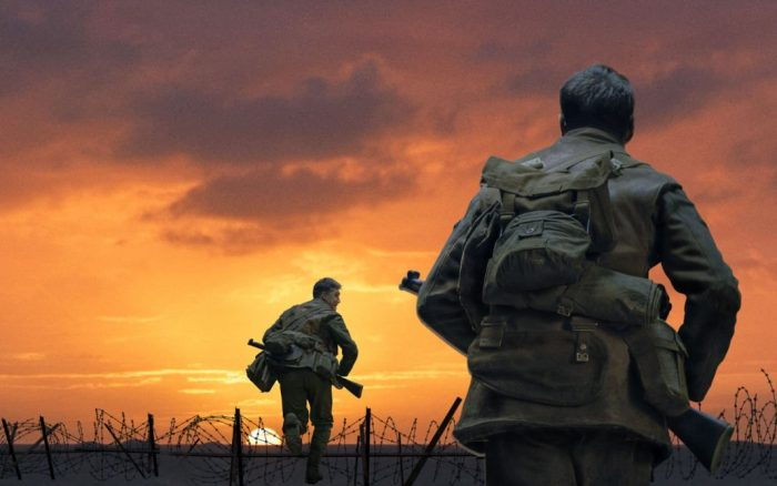 2 soldiers running through a field with a purple-orange sky in front of them