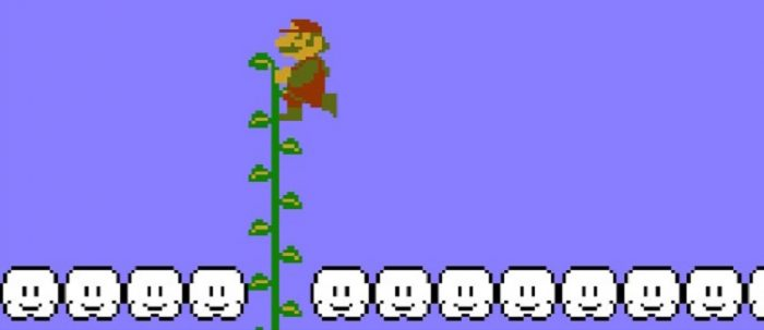 Mario climbs a secret vine all the way above the clouds.