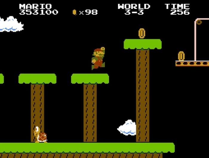 World 3-3: Nighttime. Mario jumps from platform to platform is quick succession.