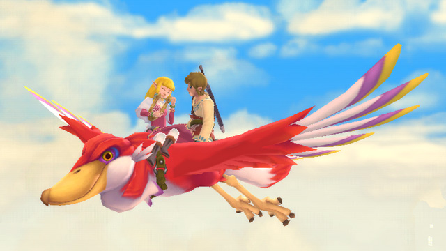 Link and Zelda share a ride through the clouds on Link's red bird.