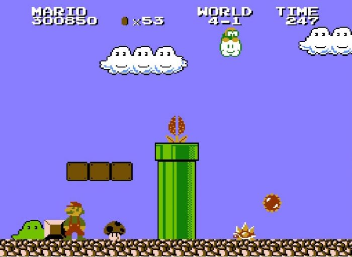 Super Mario discovers a poison mushroom and has a hard time running away from it, due to a block in his way. The game designers did this on purpose.