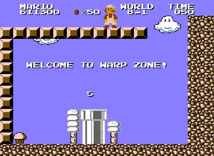 Super Mario, in World 8 discovers a Warp Zone that will send him back to the beginning of World 5.