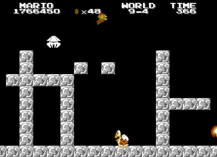 """World 9-4 sees Mario """"swimming"""" in the air as the level blocks spell out """"Thank You!"""" or """"Arigatou"""" in Japanese."""