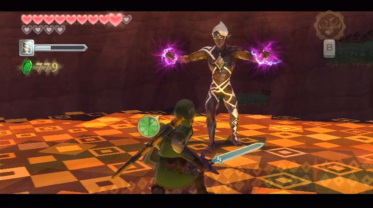 Link squares up to Ghirahim, who is about to unleash magic.