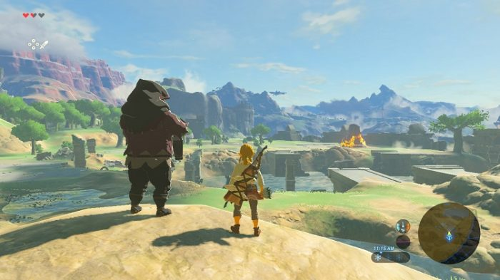 Link and the Old Man survey the Great Plateau of Hyrule from atop a small rock formation.