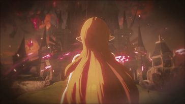 We see Zelda, and her long blonde hair, from behind, watching as Hyrule Castle is enveloped in darkness and the influence of Calamity Ganon.