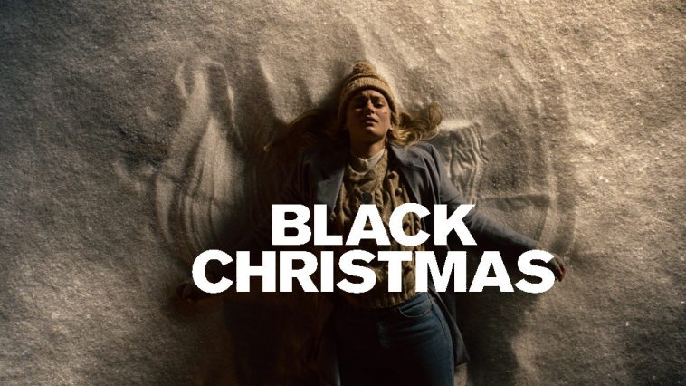 A logo and still from Black Christmas shows a woman making snow angels with a despairing look on her face